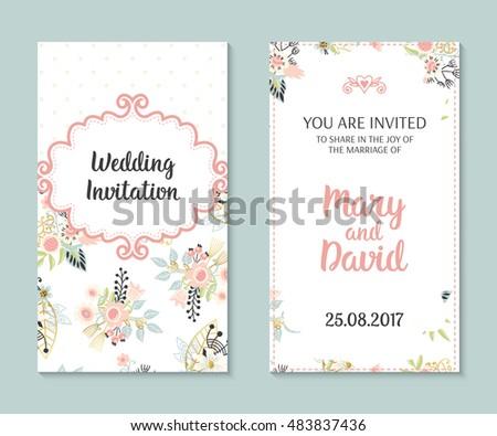 Wedding set. Romantic vector cards template. Vintage illustration.