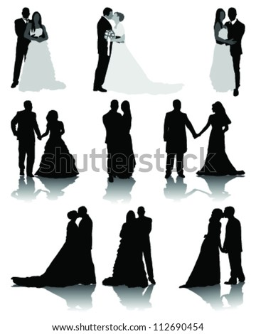 Wedding silhouettes-vector