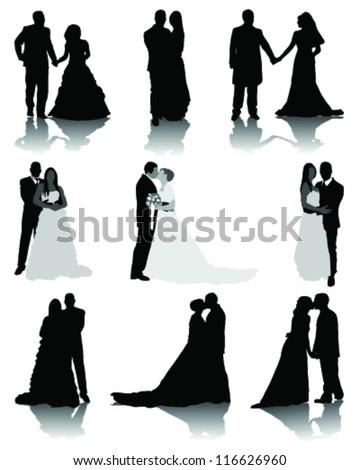 Wedding Silhouettes 2-Vector - 116626960 : Shutterstock