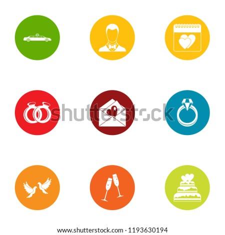 Wedding solemnity icons set. Flat set of 9 wedding solemnity vector icons for web isolated on white background