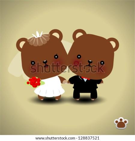 Wedding teddy bears - vector illustration