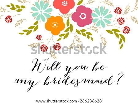 Free will you be my bridesmaid card design vector download will you be my bridesmaid wedding template invitation featuring the words pronofoot35fo Image collections