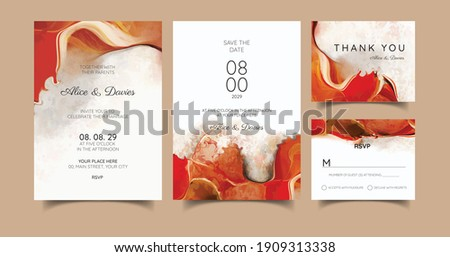 Wedding template with liquid marble texture for wedding invite, save the date card, greeting card, place for your text, printable. Swirls of marble or the ripples of agate. Fluid art. Foto stock ©