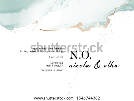 Wedding tender alcohol ink blue green and gold concept. Soft liquid flow poster, invite. Vector decorative greeting card or invitation design background.