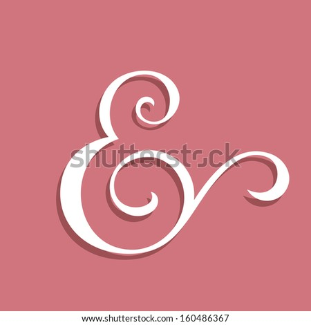 Wedding text decoration ampersand. Custom ampersand on pink. Vector illustration
