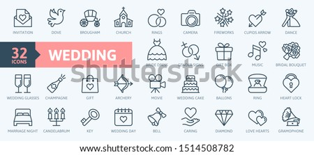 Wedding - thin line web icon set. Outline icons collection. Simple vector illustration. Stockfoto ©