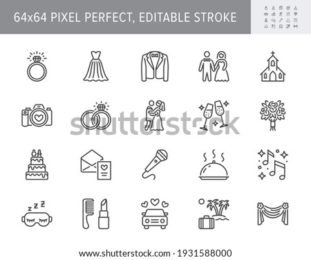 Wedding timeline line icons. Vector illustration include icon - bouquet, ring, bouquet, tuxedo, groom, bridal, invitation outline pictogram for marriage ceremony. 64x64 Pixel Perfect, Editable Stroke. Stock photo ©