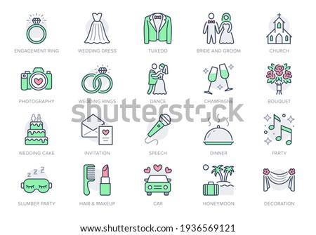 Wedding timeline line icons. Vector illustration include icon - bouquet, ring, bouquet, tuxedo, groom, bridal, invitation outline pictogram for marriage ceremony. Green and Red Color, Editable Stroke.
