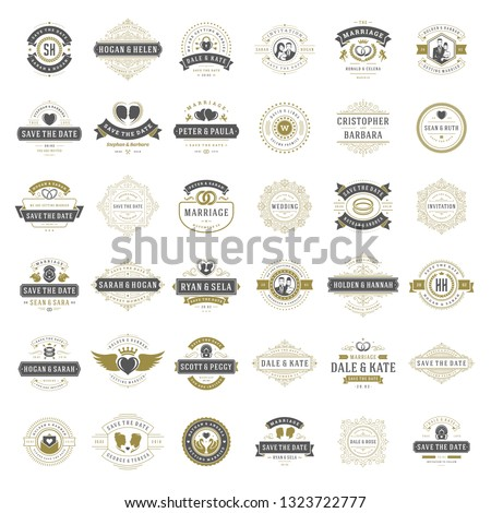 Wedding titles and labels vector elegant elements set. Vintage typography design for save the date invitations cards, ornaments decorations and symbols.