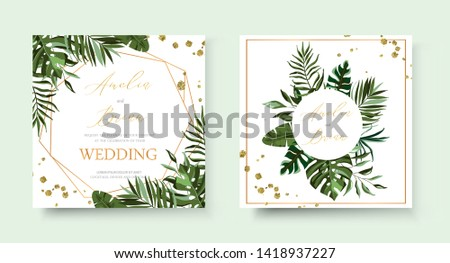 Wedding tropic exotic summer golden geometric triangular frame invitation card save the date with greenery fan palm leaf monstera. Botanical elegant decorative vector template