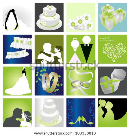 Wedding &Valentine�s day graphic design elements for icons, cards & background (Part 4)