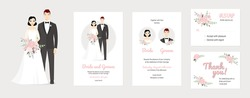 Wedding vector couples portraits with floral. Wedding invitation, thank you, rsvp card. Vector design set, bride and groom on their wedding day. Chic and romantic card