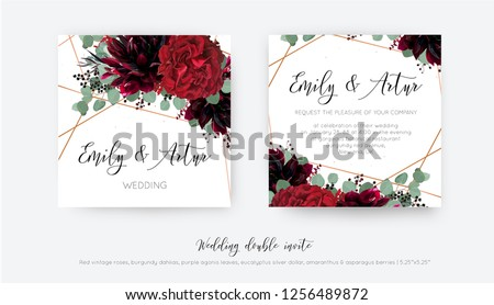 Wedding vector Floral invite, invitation save the date card design. Watercolor style Red wine rose flower, burgundy dahlia, eucalyptus silver dollar branches, berries & trendy copper geometrical frame