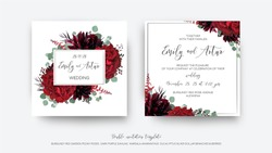 Wedding vector Floral invite, invitation save the date card  modern design: garden red rose flower, burgundy purple dahlia, eucalyptus greenery branches & berries decoration. Bohemian stylish template