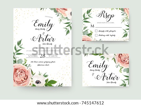 Wedding vector floral invite invitation thank you, rsvp card watercolor design set: garden flower pink peach Rose white Anemone green leaves elegant greenery & golden glitter. Decorative modern layout #745147612