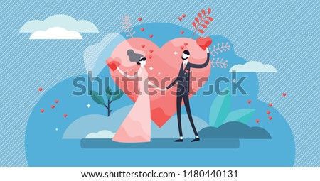 Wedding vector illustration. Flat tiny couple marriage day persons concept. Visualization for engagement, ceremony and romance celebration blog topic. Symbolic wife and husband love promise process. ストックフォト ©