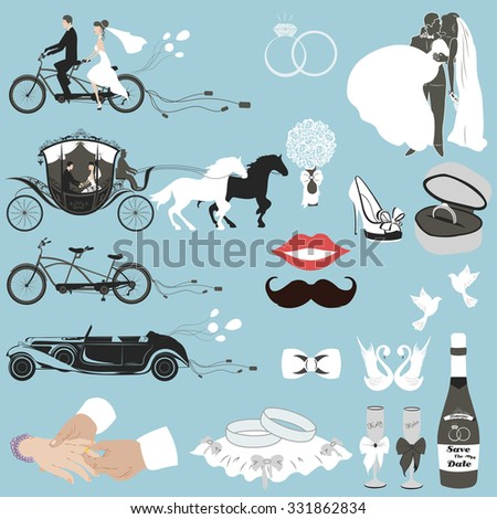Wedding vector set with graphic elements on blue background
