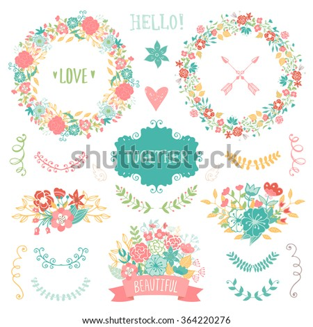 Wedding vintage elements collection. Romantic hand drawn vector floral set with frames, flowers, leaves and ribbons.  #364220276