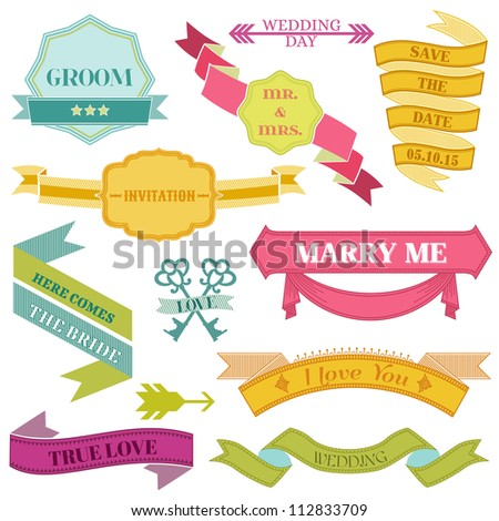 Wedding Vintage Frames, Ribbons and Design Elements - in vector
