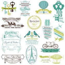 Wedding Vintage Invitation Collection - for design, scrapbook - in vector