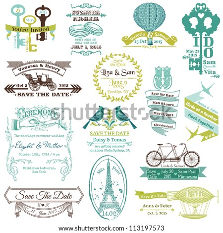Wedding Vintage Invitation Collection - for design, scrapbook - in vector - stock vector