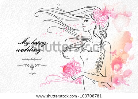 Wedding watercolor background with beautiful bride