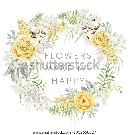 Wedding wreath with quote Flowers make me happy. Yellow rose, lilac, cotton, green leaves. Watercolor vector illustration. Romantic garden floral. Greeting card template.