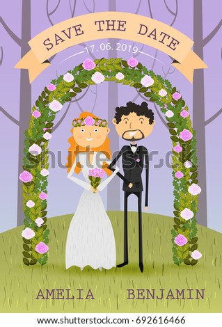 Wedding. Young modern bride and groom in a forest under a decorated arch of flower. Wedding invitation card, Chic and romantic card vector illustration   #692616466