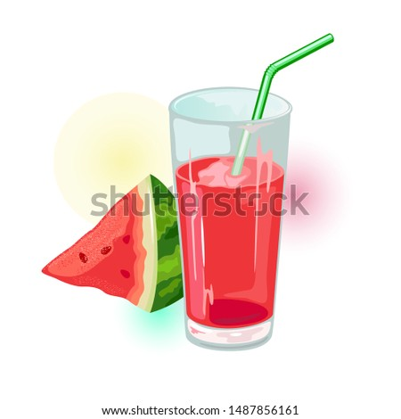 Wedge of ripe watermelon and glass of red juice with straw. Natural healthy product. Summer drink, beverage. Cartoon vector illustration isolated on white for menu, recipe, cookbook, packing.