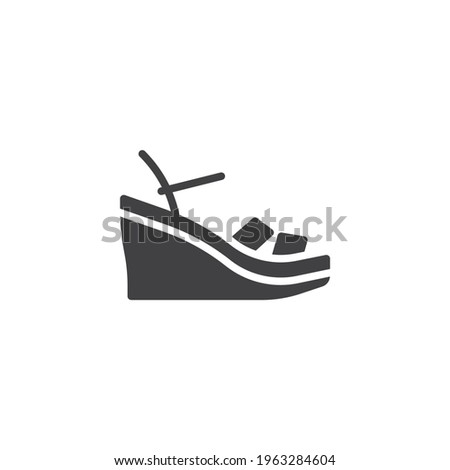 Wedges sandals vector icon. filled flat sign for mobile concept and web design. Wedges shoes glyph icon. Symbol, logo illustration. Vector graphics