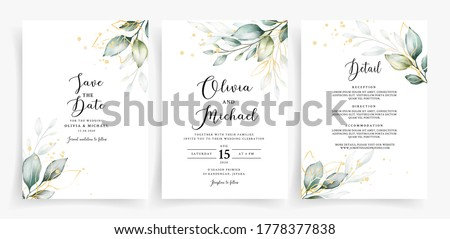 Weding card template with elegant greenery