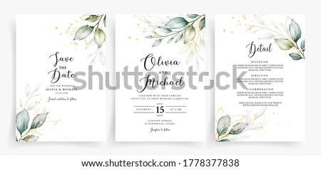 Weding card template with elegant greenery