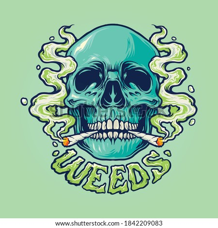 Weed Skull Smoke Illustrations for your work merchandise clothing line, stickers and poster, greeting advertising business company or brands