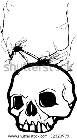 Weeds growing from a human skull. - stock vector