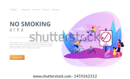 Weekend activities in park. Father riding bicycles with son. Active, healthy hobby. Smoke-free zone, no smoking area, tobacco free facility concept. Website homepage landing web page template.
