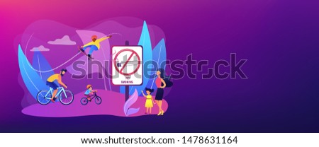 Weekend activities in park. Father riding bicycles with son. Active, healthy hobby. Smoke-free zone, no smoking area, tobacco free facility concept. Header or footer banner template with copy space.