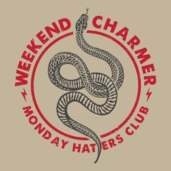 Weekend Charmer slogan print design with snake illustration