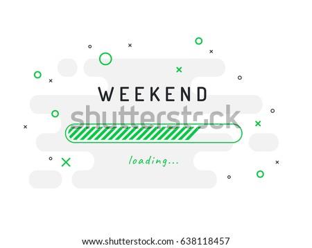 Weekend loading - vector illustration. Grey background. Сток-фото ©
