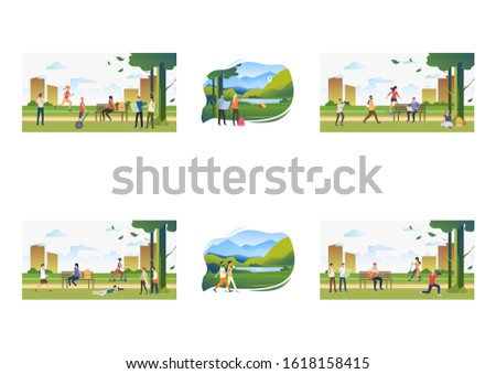 Weekend outdoors set. People enjoying activities in park, camping in mountains. Flat vector illustrations. Hiking, activity, recreation outside concept for banner, website design or landing web page