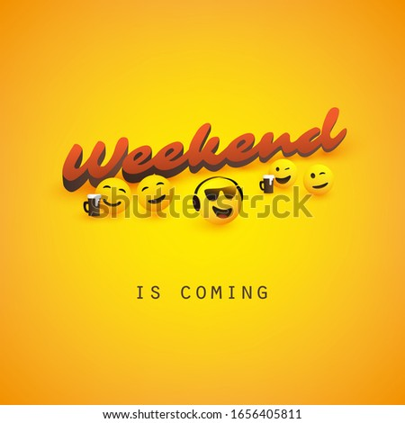 Weekend's Coming Banner Design with Winking and Smiling Emoticons Сток-фото ©