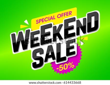 Weekend Sale advertising banner, special weekend offer, vector illustration