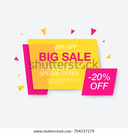 Weekend sale banner, special offer, 20 percents discount, vector eps10 illustration #704537179