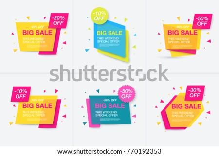 Weekend sale banner, special offer, set sale discount, vector eps10 illustration #770192353