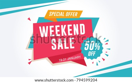 Weekend Sale Special Offer Banner Template. 50% Off