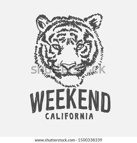 weekend slogan with tiger hand