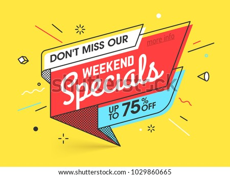 Weekend specials, sale banner template in flat trendy memphis geometric style, retro 80s - 90s paper style poster, placard, web banner designs, vector illustration
