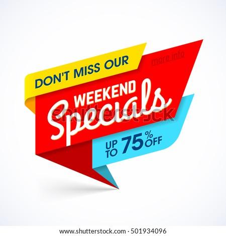 Weekend Specials sale banner, weekend special offer, big sale. Vector illustration.