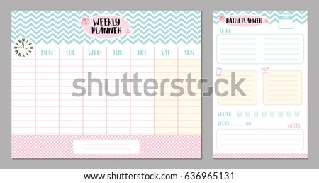 Weekly and daily planner set. Vector design.