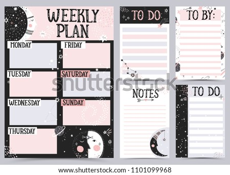 Weekly and Daily Planner Template. Organizer and Schedule with Notes and To Do List. Vector illustration.