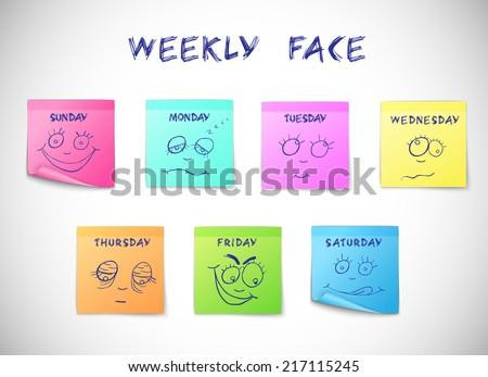 weekly calendar colored peeling
